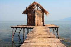Altes Baumhaus im Wasser Stockbild