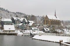 Altes Beyenburg im Schnee, Wuppertal Stockbilder