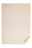 Altes Blatt Papier Schreibpapier mit einer verbogenen Ecke Stockfotos