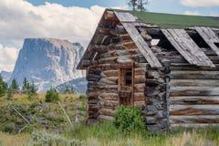 Altes Blockhaus und flache Spitzen-Berg, Wyoming Lizenzfreies Stockbild