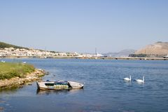 Altes Boot in der Lagune bei Argostoli, Kefalonia, September 2006 Lizenzfreies Stockfoto