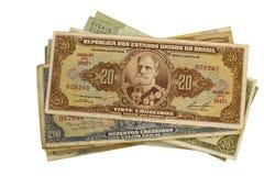 Altes brasilianisches Geld auf weißem Hintergrund Lizenzfreies Stockbild