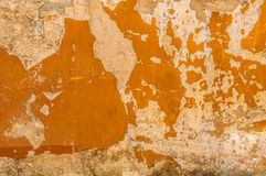 Altes Brickwall mit Schalen-Sumpf-Farbstuck-Beschaffenheit Stockbilder