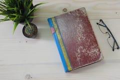 Altes Buch auf hölzerner Tabelle mit Kaktus und Gläsern Lizenzfreie Stockfotos