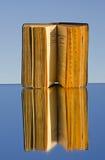 Altes Buch auf Spiegel und Reflexion stockfotos