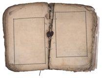 Altes Buch geöffnet auf beiden Leerseiten. stockbilder