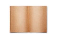 Altes Buch geöffnet auf weißem Hintergrund Stockbilder