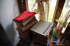 Altes Buch im Fenster Stockbild