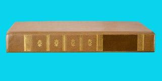 Altes Buch mit Dorn auf blauem Hintergrund, Seitenansicht, für Design lizenzfreies stockfoto