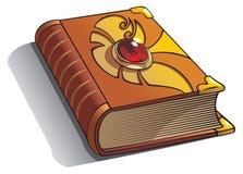 Altes Buch mit Edelstein auf Abdeckung Stockbild