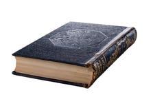 Altes Buch mit schwarzer lederner dekorativer Abdeckung lizenzfreie stockbilder