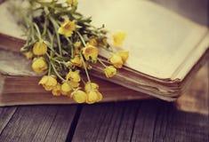 Altes Buch und Blumenstrauß von Butterblumeen auf einem Holztisch Lizenzfreie Stockbilder