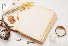Altes Buch und ein Bündel getrocknete Kräuter auf weißem Hintergrund Stockbilder