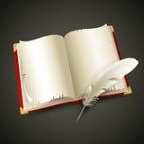 Altes Buch und Feder Auch im corel abgehobenen Betrag lizenzfreie abbildung