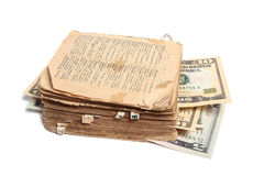 Altes Buch und Geld Lizenzfreies Stockbild