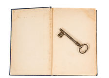 Altes Buch und Taste Stockbild