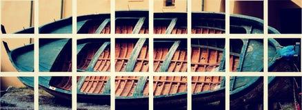 Altes buntes Fischerboot verließ lizenzfreie stockfotografie