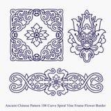 Altes chinesisches Muster der Kurven-Spiralen-Rebrahmen-Blumen-Grenze Stockfotografie