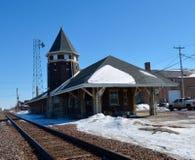 Altes Dekalb-Eisenbahn-Depot Stockbilder