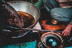 Altes Delhi-Frühstück - schlechtes Aloo stockfotografie