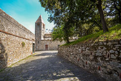 Altes dell'isola Kirche Sans Nicolo in Sestri Levante, Ligurien Italien Stockfoto