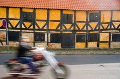 Altes Depot in Nakskov und im motorcicle stockbilder