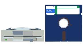 Altes Diskettenlaufwerk und Diskette Stockbilder