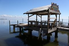 Altes Dock, Cedar Key, Florida Stockfotos