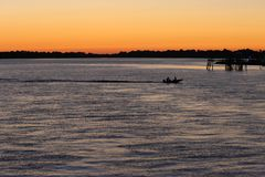 Altes Dock, Cedar Key, Florida bei Sonnenuntergang Stockfoto