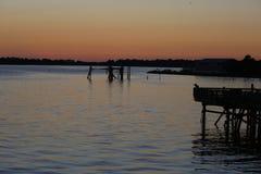 Altes Dock, Cedar Key, Florida bei Sonnenuntergang Lizenzfreies Stockfoto