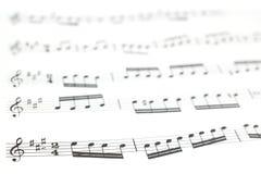 Altes Druckmusikblatt oder Kerbe und musikalische Anmerkungen Stockfotografie