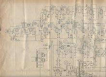 Altes Elektronikdiagramm Lizenzfreies Stockfoto