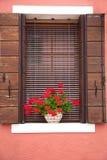 Altes europäisches Fenster/mit Blumen und Blendenverschlüssen Lizenzfreies Stockbild