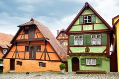 Altes Fachwerk Haus in Dinkelsbuhl. Stockfotos