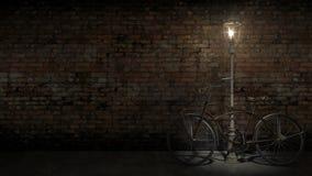 Altes Fahrrad gegen die Wand Stockfotografie