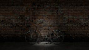 Altes Fahrrad gegen die Wand lizenzfreie abbildung
