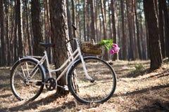 Altes Fahrrad mit Blumen im Korb, das Holz Stockbilder