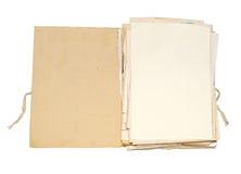 Altes Faltblatt mit Papieren Stockfotos