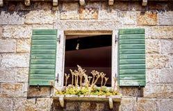Altes Fenster auf dem Mittelmeerhaus Lizenzfreie Stockbilder