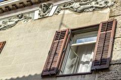 Altes Fenster auf dem seatown Haus Lizenzfreie Stockfotos