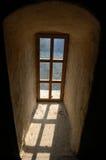 Altes Fenster Draculas am Schloss Stockfotografie