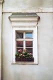 Altes Fenster mit Blumen, Abschluss oben Lizenzfreie Stockfotos