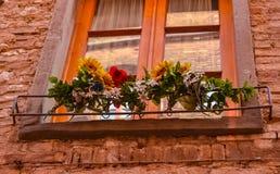 Altes Fenster mit Blumen lizenzfreie stockbilder
