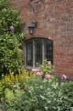 Altes Fenster mit Blumenbeet Stockbild