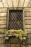Altes Fenster mit Stangen in einer Stadt von Toskana Stockfotos