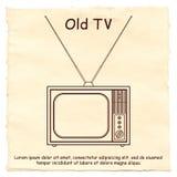 Altes Fernsehen auf einem Papierhintergrund Stockfotos
