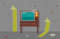 Altes Fernsehen im alten Haus stock abbildung