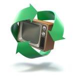 Altes Fernsehen mit der Wiederverwertung des Symbols Lizenzfreies Stockfoto