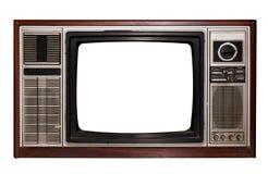Altes Fernsehen mit Rahmenschirmisolat auf Weiß mit Beschneidungspfad für Gegenstand stockfotos
