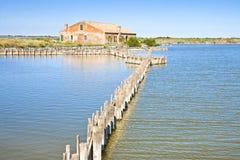Altes Fischenhaus in den des Comacchios Tälern Lizenzfreies Stockfoto